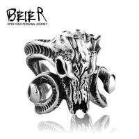 BEIER stainless steel goat skeleton ring animal men Domineering ring personality steel jewelry BR8077