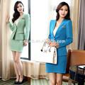2015 de moda manga larga falda trajes formales uniformes de oficina para la señora