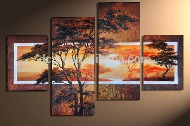 Cuadros abstractos de árboles de pintura al óleo-Pintura y ...