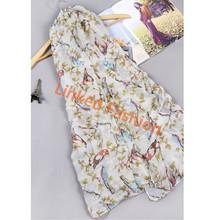 animal voile scarf Birds print scarf owl triangle scarf with lace trim bufunda stoles shawls