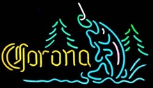 Free Shipping!Fashion Neon Sign Corona Mountain Fly Fishing Real Glass Neon Sign Neon Light Neon Beer Sign Beerbar Sign19x15