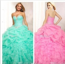 Quinceanera Dresses Strapless Sweetheart Beaded Lace Up Back Blue Pink Cascading Ruffles Ball Gown pink quinceanera dress
