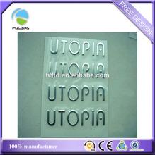 3D silver tone letters logo soft pvc car adhesive sticker