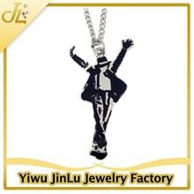 Classic jewelry enamel MJ michael jackson pop star necklace