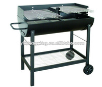 black semi-cylinder two cooking grids bbq grill with professional quality