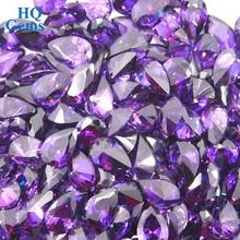 Synthetic Machine Cut CZ Drop Stone Pear Purple Zircon