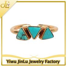 Fashion triple triangle turquoise crux ring