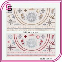 2015 Body Tattoo Sticker Metallic Tattoos Jewelry Inspired Flash Tattoos