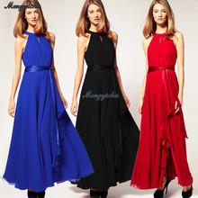 Wholesale Clothing European Style Vintage Sleeveless Plus Size Summer Long Chiffon Dresses Fashion Women Dress 2015 (5315)