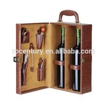 2 bottles leather wine carrier