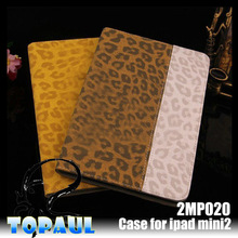 Splice Leopard smart tablet PC wallet leather case for ipad mini 2