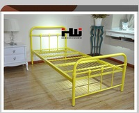 Bright Yellow Modern Style Forged Single Iron Beds For Sale