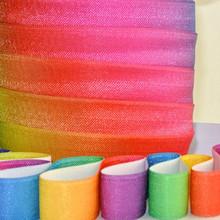 "5/8"" Colorful Rainbow Elastic 3 or 5 yards trim, satin elastic band for hair garment trousers elastic"