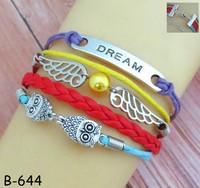 Faith love bracelet, purple red blue yellow leather bracelet jewelry faith dream wing love bracelet