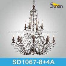 Antique dark brown climbing branch crystal chandelier