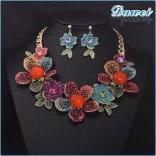 Zhejiang 2015 high end elegant bridal colorful flower gem necklace suit