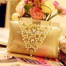 Fashion Accessory 2015 Luxurious Vintage Silk Pearl Lady Handbag Clutch Bag For Prom/Wedding/Party