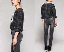 The new spring/autumn 2015 ladies Digital printing plaid blouse HSB9359