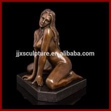 Folk Art Nude Bronze Sculpture