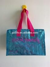 Metallic blue pvc coated small zippered shiny gift bag