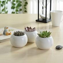 Indoor 2 inch round white mini ceramic planters