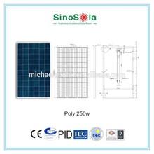 High quality good 600 watt solar panel big portable solar kit 250w poly solar panel for Solar Power System with TUV/IEC/CE/PID