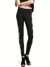Wholesale Cheap Punk Rock Rivets Gauze Splicing Woman Leggings