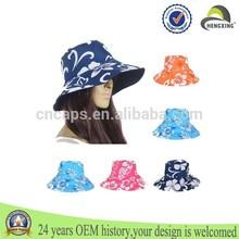 Fashion OEM Bucket Cotton Hat Sun Visor Summer Beach Outdoor Wide Brim Hat