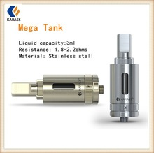 Electronic cigarette tank stainless steel coated Karass wholesale 3ml Mega tank dual heating coil mechanical mod 510 thread ego