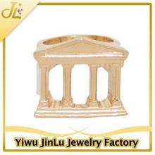 Ladies gold plated Column design hallmark rings