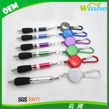 Winho Retractable Badge Reel Ballpoint Pen with Belt Carabiner Clip Key Ring