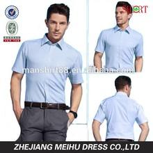 New style 2015 men striped short sleeve casual dress shirt , men garment