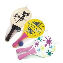 Popular summer beach ball set,wooden beach tennis paddle racket set,mini tennis racket game