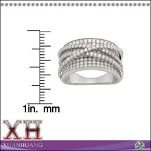 925 Sterling Silver Cubic Zirconia Curved X Ring,Wide Band Ring