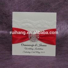 Australia popular design high quality guangzhou made ivory lace wedding invitations