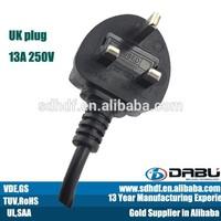 Europ 3 pin plug top england plug tinned cable 10A fuesd electric socket plug