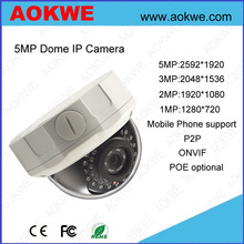 Aokwe H.264 1/3 CMOS POE optional support p2p function IR cctv dome ip camera 5 megapixel
