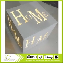 LED lighted wooden box hollowed wall art frame room decor