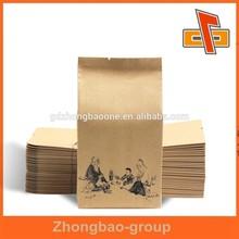 Heat seal stand up brown kraft paper tea bag china paper bag manufacturer