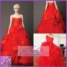 New Designs Sleeveless Strapless Red Organza Wedding Dress Ruffle Flower Patterns