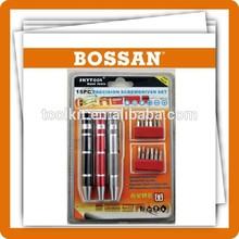 Free Sample,15 pcs magnetic bits mini screwdriver kit, pocket mini screwdriver bit with double blister.