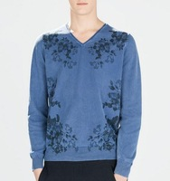 men flowers printed knit fashion pullover knit v-neck sweater