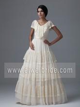 MK44 Simple Lace Layered Floor Length Short Sleeve Covered Back Vintage Wedding Dress