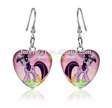 Fashion 2.5*2.5cm Heart Shaped Dangle Earrings, fashion kids gold earrings