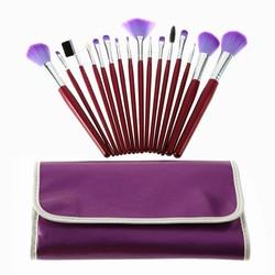 Factory Wholesale 16 Pcs Professional Makeup Brush sets cosmetic brushes kit + Purple Leather Case