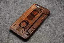 Carved Walnut Real Wood Case for iPhone 6 ,Traveler Wooden Cover