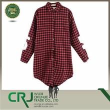 Women's Cotton Plaid Long Sleeve Shirt Collar Oversized Blouse