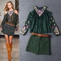 La mejor calidad nuevo diseño de lujo ropa 2015 conjunto traje de falda de la mujer de lujo bordado abalorios de flores de seda falda shirt+mini( 1set)
