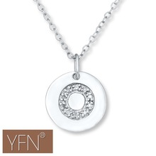 "White Gold Plated Letter ""O"" Initial Diamond Disc Pendant Necklace"