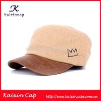 wholesale custom wool fabric and leather brim flat top military cap